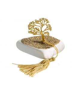 Επιτραπέζιο διακοσμητικό με μεταλλικο επιχρυσωμένο το Δέντρο της Ζωής σε Μάρμαρο Θάσου και επικάλυψη με άμμο -  - περίπου 300 gr T1909g