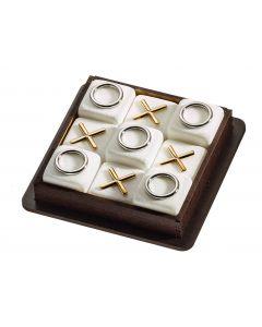 Τρίλιζα κλασσική με εννέα μάρμάρινα κυβάκια διακοσμήμενα με επίχρυσα & νίκελ στοιχεία μέσα σε ξύλινη θήκη - 400gr ΤΡ1960 - 10*10*3