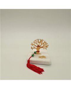 Επιτραπέζιο γούρι Χριστουγεννιάτικο με μεταλλικό επιχρυσωμένο το Δέντρο με τις ευχές σε Μάρμαρο Θάσου (περίπου 300gr)