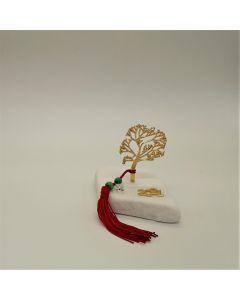 Επιτραπέζιο γούρι Χριστουγεννιάτικο με μεταλλικό επιχρυσωμένο το Δέντρο της Ζωής σε Μάρμαρο Θάσου (περίπου 300gr)