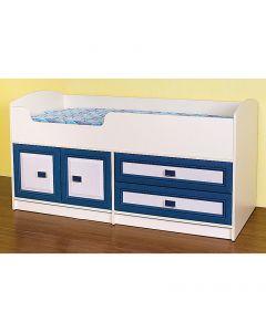 Κρεβάτι Twins 3, Μπέζ/Βανίλια-Μπλέ, με 2 συρτάρια και 2 ντουλάπια, κατάλληλο για μικρές ηλικίες, Δέχεται στρώμα 70x160 (το στρώμα δεν περιλαμβάνεται) SO-TWINS3