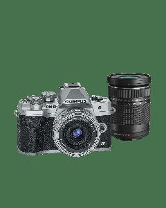 Olympus E-M10 IV Camera Double Kit slv/slv/bk, 14-42mm F3.5-5.6 EZ silver & 40-150mm F4.0-5.6 R blac 9.01.03.03.143 V207134SE000