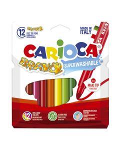 ΜΑΡΚΑΔΟΡΟΙ CARIOCA BRAVO ΣΕΤ=12 ΧΡΩΜ. ΜΥΤΗ Φ6mm Carioca 42755 60-700