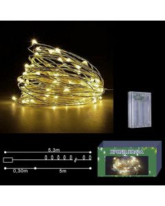 50 microLED ΜΠΑΤΑΡΙΑΣ COPPER ΛΕΥΚΑ ΣΤΑΘΕΡΑ  Xmasfest 1131426 93-1406