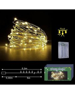 50 microLED ΜΠΑΤΑΡΙΑΣ COPPER ΛΕΥΚΑ CONTROL  Xmasfest 1132403 93-2383