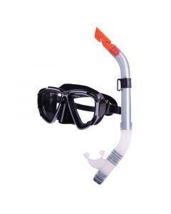 Σετ μάσκας & αναπνευστήρα σιλικόνης, μαύρο-ασημί