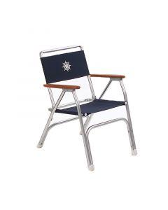 Καρέκλα αλουμινίου, πτυσσόμενη, με teak μπράτσα