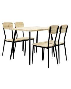 Σετ τραπεζαρία Rina pakoworld 5 τμχ επιφάνεια MDF χρώμα sonoma oak black matte 018-000001
