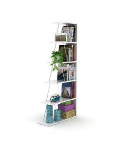 Βιβλιοθήκη mini TARS pakoworld  χρώμα λευκό-λεπτομέρειες χρωμίου 65x22x146εκ 027-000021