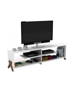 Έπιπλο τηλεόρασης KIPP pakoworld χρώμα λευκό-καρυδί λεπτομέρειες 145x31x39εκ 027-000022