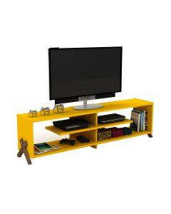 Έπιπλο τηλεόρασης KIPP pakoworld χρώμα κίτρινο-καρυδί λεπτομέρειες 145x31x39εκ 027-000023