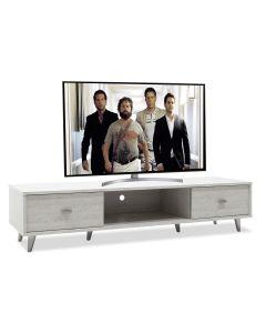 Έπιπλο τηλεόρασης FIRENZE  pakoworld χρώμα γκρι-λευκό 150,5x41x33εκ 049-000012