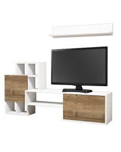 Σύνθετο σαλονιού Rinaldo Tv pakoworld σε χρώμα λευκό-καρυδί 160x30x78 055-000160
