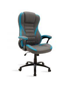 Καρέκλα γραφείου Starr gaming pakoworld από pu χρώμα γκρι-σιέλ 095-000008