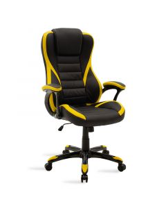 Καρέκλα γραφείου Starr gaming pakoworld από pu χρώμα μαύρο-κίτρινο 095-000009