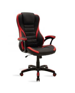 Καρέκλα γραφείου Starr gaming pakoworld από pu χρώμα μαύρο-κόκκινο 095-000010