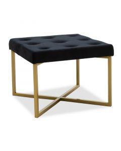 Σκαμπώ Luisa pakoworld μεταλλικό χρυσό-βελούδο μαύρο 40x40x30εκ 104-000006