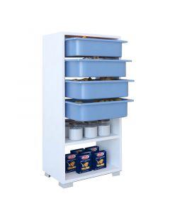 Συρταριέρα Ismay pakoworld 4 συρτάρια λευκό-μπλε 45,5x30x92εκ 120-000198