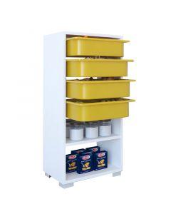Συρταριέρα Ismay pakoworld 4 συρτάρια λευκό-κίτρινο 45,5x30x92εκ 120-000199