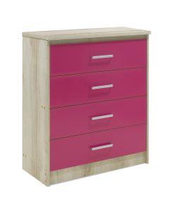 Συρταριέρα παιδική Looney pakoworld με 4 συρτάρια χρώμα castillo-ροζ 80x40x95εκ 123-000079