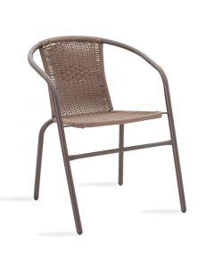 Πολυθρόνα κήπου Obbi pakoworld μέταλλο-pe καφέ 130-000008