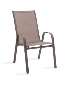 Πολυθρόνα κήπου Calan pakoworld μέταλλο σκούρo καφέ-textilene καφέ 130-000011