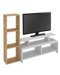 Έπιπλο τηλεόρασης Ozzie pakoworld φυσικό-λευκό 130x30x100εκ 178-000037