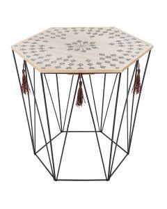 Τραπέζι σαλονιού Kumi pakoworld μωσαϊκό-μαύρο 39.5x38x44εκ 199-000174