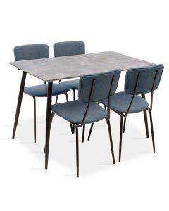 Τραπεζαρία Cube-Τania pakoworld σετ 5τμχ MDF grey cement-μπλε 120x80x76εκ 200-000212