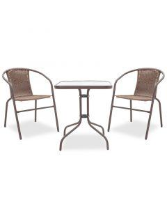 Τραπεζαρία κήπου Obbi-Watson σετ 3τεμ pakoworld μέταλλο-pe καφέ 200-000304