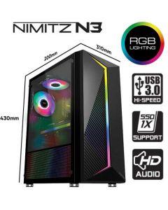 ARMAGGEDDON GAMING PC CASE FULL ATX NIMITZ N3 BLACK NN3B