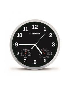 ESPERANZA Ρολόι τοίχου Lyon EHC016K, θερμόμετρο/υγρόμετρο, 25cm, μαύρο EHC016K id: 24333