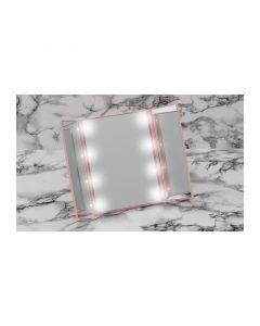 Τριπλός Φορητός Καθρέπτης Ταξιδίου με Οθόνη Αφής LED και Βάση GloBrite Χρώματος Ροζ VL2027 - 3957