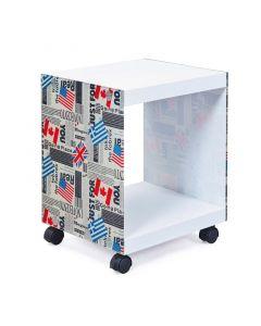 Ξύλινο Βοηθητικό Τραπεζάκι - Κομοδίνο με Γυάλινες Πλευρές Flag 38 x 33.5 x 46 cm Esedra 20040014 - 4833