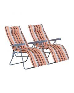 Σετ Πτυσσόμενες Καρέκλες Εξωτερικού Χώρου με Ρυθμιζόμενη Πλάτη Χρώματος Πορτοκαλί 2 τμχ Outsunny 01-0711 - 10498