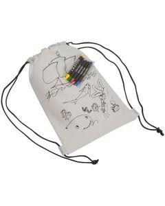 Τσάντα πλάτης λευκή για ζωγραφική με 5 κηρομπογιές Υ29.8x20.6x0.3εκ. - 22292------2