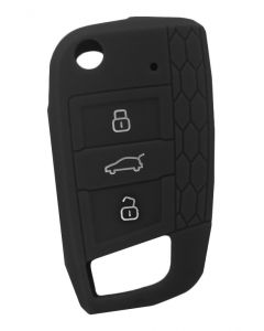 Θήκη κλειδιού για αυτοκινήτα Volkswagen 1001-02, εύκαμπτη, μαύρη 1001-02 id: 37970