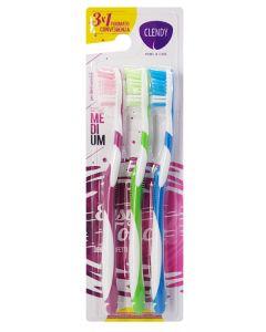 CLENDY οδοντόβουρτσα 105096, medium, ποικιλία χρωμάτων, 3τμχ 8033532153069 id: 39799