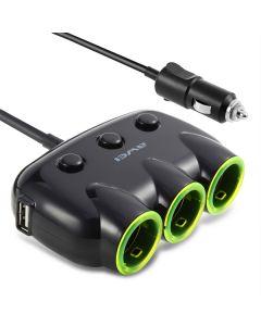 AWEI διαμοιραστής αντάπτορα αυτοκινήτου C-35, 3x θέσεων & 2x USB, μαύρος AW-C-35 id: 41237