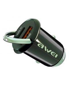 AWEI φορτιστής αυτοκινήτου C-708, USB + Type-C, 45W, μαύρος AW-C-708 id: 41236