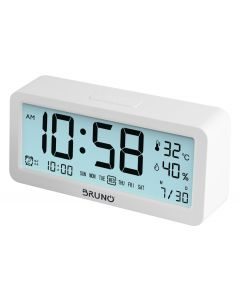 BRUNO ξυπνητήρι BRN-0062 με μέτρηση θερμοκρασίας και υγρασίας, λευκό BRN-0062 id: 42011