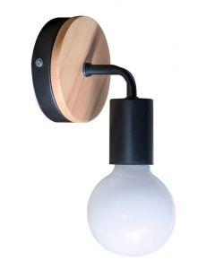POWERTECH φωτιστικό τοίχου HLL-0017, E27, ξύλο-μέταλλο, μαύρο HLL-0017 id: 34512
