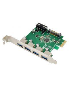 POWERTECH κάρτα επέκτασης PCIe σε 4x USB 3.0 ST66, VL805 + RTL8153 ST66 id: 37407