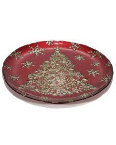 Χριστουγεννιάτικη γυάλινη πιατέλα 32,5cm [02618759] - General Trade