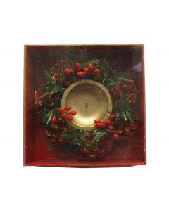 Χριστουγεννιάτικο διακοσμητικό κηροπήγιο με κουκουνάρια [00000974] - AGC