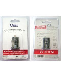Osio OTU-355 Φορτιστής αυτοκινήτου με USB 5 V 1000 mA 18591-0355