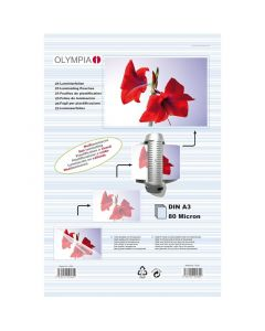 Olympia 9182 Φύλλα πλαστικοποίησης για Α3 σε κουτί 80 microns 25 τμχ 14549-0036