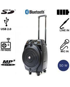 Akai SS023A-X10 Φορητό ηχείο Bluetooth με ενισχυτή, USB, SD, ασ. μικρόφωνο και ρόδες – 50 W RMS 14882-0231