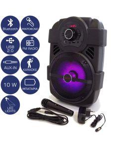 Akai ABTS-808L Φορητό ηχείο Bluetooth με LED, USB, Aux-In και μικρόφωνο – 10 W 110582-0008