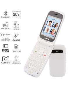 Olympia PRIMUS GR DUAL SIM (Ελληνικό Μενού) Κινητό τηλέφωνο για ηλικιωμένους με κουμπί SOS και κάμερα Λευκό 110687-0016